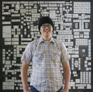 Jason Shig in front of his creation