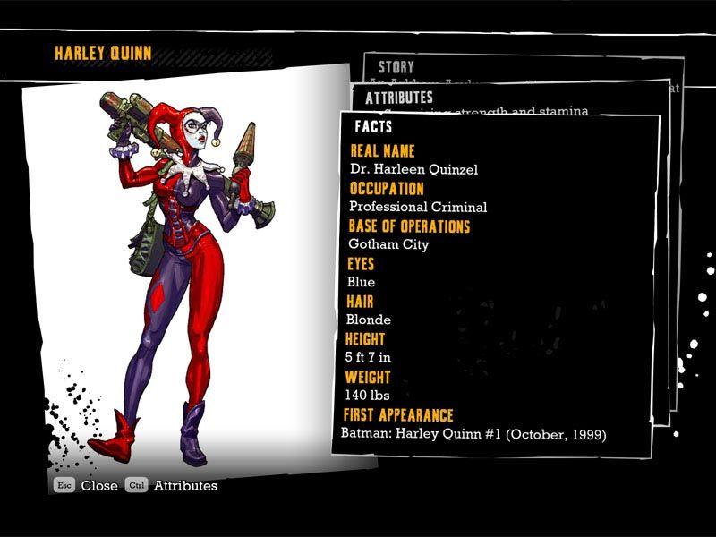 Harley Quinn Character Bio in Arkham Asylum video game
