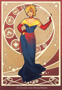 Captain Marvel Art Nourveau by OniYon