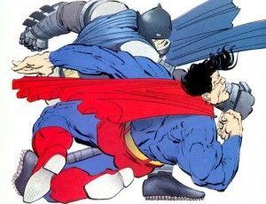 TDKR Batman punches Superman