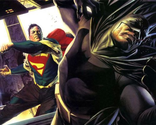 Superman Punching Batman