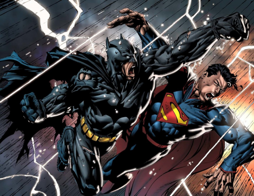 Batman punching Superman