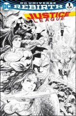 Justice League (2016-2018) #1 Variant R: Dynamic Forces Black & White Variant Cover
