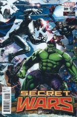 Secret Wars (2015-2016) #1 Variant V: GameStop Exclusive Heroes Cover
