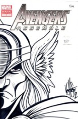 Avengers Assemble (2012-2014) #1 Variant K: DF Exclusive Re-Inked Edition; Signed and Re-Inked by Ken Haeser w/ COA