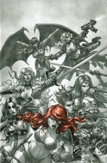 Red Sonja: Age Of Chaos (2020) #1 Variant X: 7 Copy Incentive Black & White Red Virgin Cover