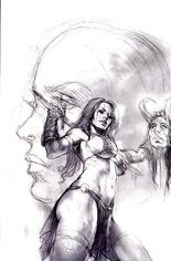 Red Sonja: Age Of Chaos (2020) #3 Variant R: 15 Copy Incentive Black & White Virgin Cover