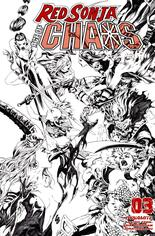 Red Sonja: Age Of Chaos (2020) #3 Variant U: 35 Copy Incentive Black & White Cover