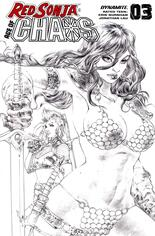 Red Sonja: Age Of Chaos (2020) #3 Variant K: 50 Copy Incentive Pure Pencil Sketch Virgin Cover