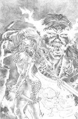 Red Sonja: Age Of Chaos (2020) #5 Variant S: Bonus FOC Variant Black & White Virgin Cover