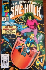 Sensational She-Hulk (1989-1994) #14 Variant B: Two-Page Promo feat. the originally intended cover for issue #14 and an explanation of why the Texeira cover was used instead